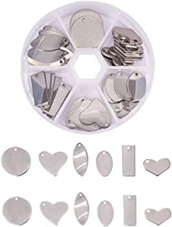 SUPVOX Stainless Steel Blank Stamping Tag Pendants for Bracelet Earring Pendant Charms DIY Jewelry Making Accessories (Mixed Shape)