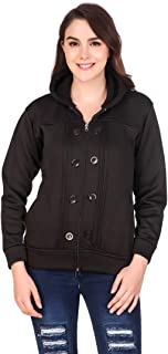 Kiba Retail Woolen Blend Casual Wear Full Sleeves Sweatshirt for Girl's/Women's, Pack-1(Color- Black, Size- S, M, L, XL)