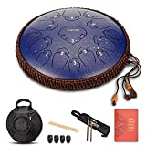 Steel Tongue Drum-14 Inch 15 Note Percussion Instrument Lotus Hand Pan Drum with Ultra Wide Range and Drum Mallets Carry Bag