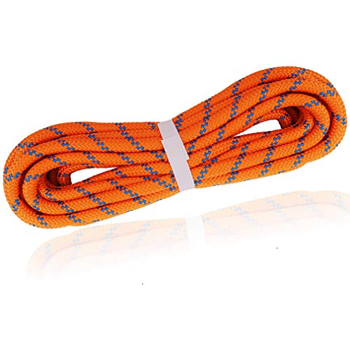 NewDoar Static Climbing Rope 8mm(5/16in) Double Braid Accessory Cord Rope for Prusik Hauling Dragginge(Orange 8mm,20FT)