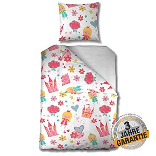Aminata Kids süße Mädchen Kinderbettwäsche Prinzessin rosa, 135 x 200 cm + 80 x 80 cm, Baumwolle mit Reißverschluss, Kinder-Bettwäsche-Set mit Princess-Motiv, Prinzessinnen-Motiv, Krone, Fee