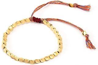 EnjoIt Handmade Tibetan Copper Bead Bracelet Lucky Rope Tassel Bracelet Friendship Couple Distance Matching Bracelets for ...