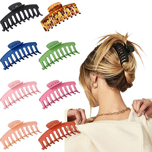 EBANKU Haarklammer Haargreifer Klaue Clips Groß Bunte Unregelmäßige Rutschfeste Haarnadel Haar klammern für Frauen Dickes Haar Hair Claw Clips Accessoires (8 Pack)