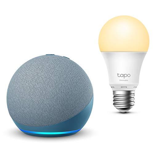 Nouvel Echo Dot (4e génération), Bleu-gris + TP-Link Tapo Ampoule Connectée (E27), Fonctionne avec Alexa