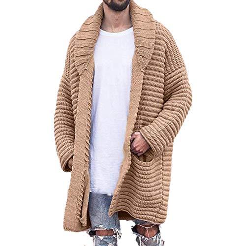 Chaqueta de suéter de Solapa para Hombre Engrosada Otoño Invierno a Prueba de Viento Cálida Tendencia de Personalidad Color sólido Suéter Informal Cardigan 3X-Large
