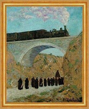 Kunstdruck Vendredi Saint en Castille Dario de Regoyos tren Lok B A3 01364 enmarcado
