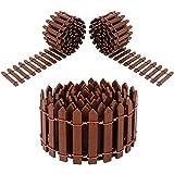 Huayue 3 Rotoli Mini Recinzioni Decorative in Legno, 90CM X 5CM Recinzione Decorativa da Giardino Staccionata Marrone Fai da Te per Bonsai Casa delle Bambole Micro Paesaggio Terrario Ornamento