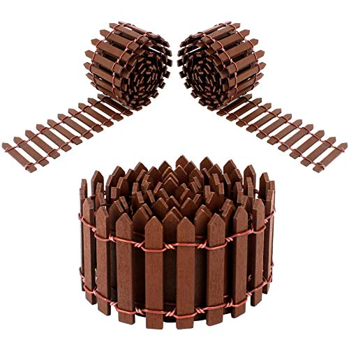 Huayue 3 PCS Miniature Wooden Fence, 90 X 5CM Small Wood Picket Fence Fairy Garden Fence Christmas Tree Fence Micro Landscaping Decor for Micro Landscape Doll House Flower Pot DIY Decoration, Brown
