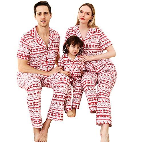 Weihnachtsanzug Für Eltern-Kind-Heimdienst Pyjama Top Christmas Rentier Elch Lustig Familie Weihnachten Passende Outfits Nachtwäsche Baby Strampler Set Homewear 2Pcs Eltern Kind Mutter Vater