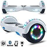 Magic Vida Skateboard Électrique 6.5 Pouces Bluetooth Puissance 700W avec Deux Barres LED Gyropode Auto-Équilibrage de Bonne qualité pour Enfants et Adultes(Blanc