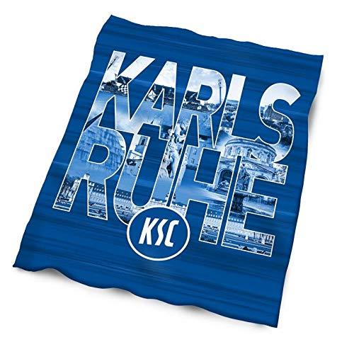 Karlsruher SC Fleecedecke - Stadtbuchstaben - Kuscheldecke, Sofadecke, Decke KSC - Plus Lesezeichen Wir lieben Fußball