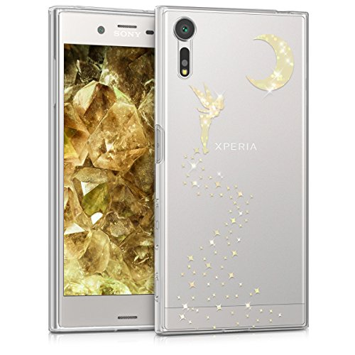 kwmobile Sony Xperia XZ/XZs Hülle - Handyhülle für Sony Xperia XZ/XZs - Handy Case in Fee Glitzer Design Gold Transparent
