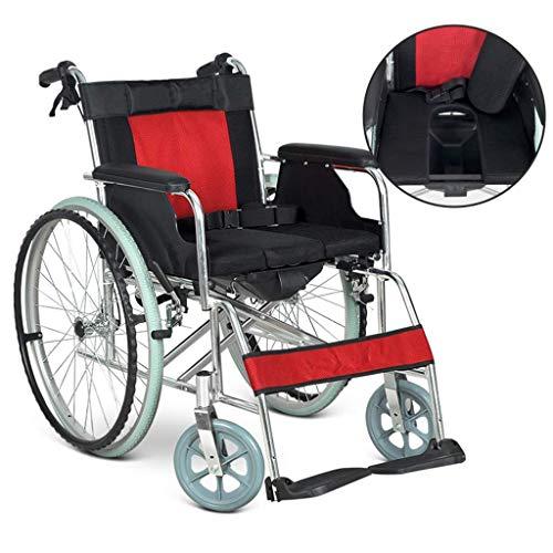 AOLI Eigenantrieb Rollstuhl, Leichtklappaluminiumlegierung Rollstuhl, tragbare ältere Mehrzweckwagen, ergonomischer, Geeignet für Menschen mit Behinderungen, Red1,rot