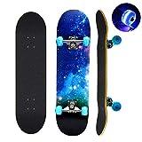 Skateboard, 78,7 cm x 20,3 cm completo monopatín, 9 capas de madera...