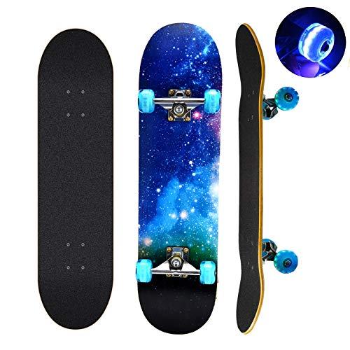 Skateboard, 78,7 cm x 20,3 cm completo monopatín, 9 capas de madera de arce canadiense con coloridas ruedas intermitentes para niños, adolescentes y adultos (azul)