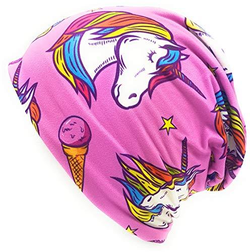 Gorro largo con diseño de flamenco y donut de color azul, unisex, para hombre y mujer Unicornio rosa. Talla única