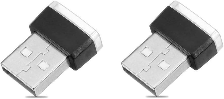 2 Piece Color Ultra USB Plug In Mini LED Car Interior Ambient Lighting Lamp Kit (BLUE)