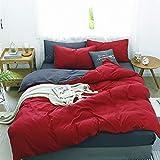 Damier Ropa de cama reversible de 220 x 240 cm, 3 piezas, microfibra, funda nórdica con cremallera y 2 fundas de almohada de 80 x 80 cm, color rojo y gris