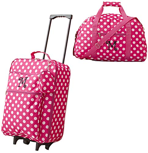 Girls' 3-Piece Monogram Luggage Set - Pink Polka Dots - Monogram Letter M