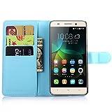 Ycloud Tasche für Huawei G Play Mini (Honor 4C) Hülle, PU Ledertasche Flip Cover Wallet Hülle Handyhülle mit Stand Function Credit Card Slots Bookstyle Purse Design blau