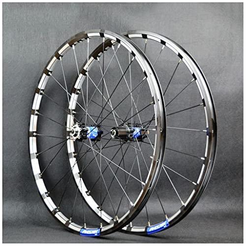VPPV Ruedas de Bicicleta Montaña 26/27,5/29 Pulgadas, Pared Doble Aleación Aluminio 24 Hoyos Llanta MTB Ruedas Liberación Rápida para Disco 7-11 Velocidades Negro (Color : Azul, Size : 27.5 Inch)