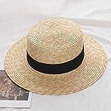 FHHYY sombreo Verano Mujer Sombrero de Paja de ala Ancha Moda Chapeau Paille Lady Sombreros de Sol navegante Trigo Panama Sombreros de Playa chapeu Gorras Femeninas,F