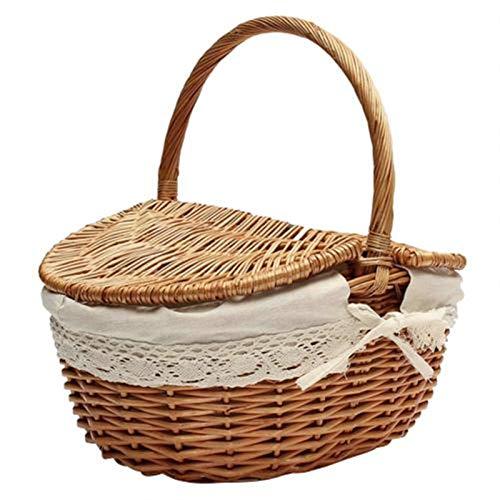 Basket de pique-nique tissé en osier Wicker Hangper comme sac à provisions avec couvercle et manche Camping pique-nique Shopping Food Fruit Panier de pique-nique (Color : Wood)