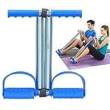 Covvy Corde élastique à double ressort pour exercice de pédale de pied, abdomen, jambe, coupe-ventre, équipement de musculation pour le fitness, le yoga, bleu