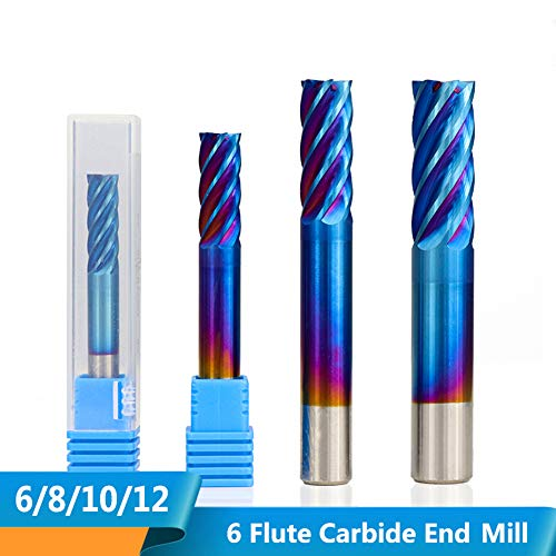 CHENWN 1Pc 6 Flute Schaftfräser 6/8/10 / 12Mm Nano Blau Beschichtung CNC-Fräsmaschine Spiralfräser Fräser,D10*25 * 75L