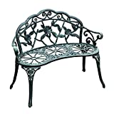 Outsunny Garden Bench Loveseat with Floral Rose Style, Cast Aluminum Frame for Outdoor, Patio, Park, Deck, Antique Green