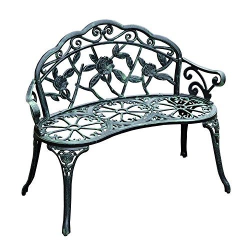 Outsunny 40' Cast Aluminum Antique Rose Style Outdoor Patio Garden Park Bench - Antique Green