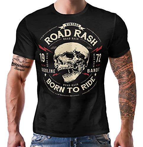 Gasoline Bandit Maglietta originale Biker Racer Road Rash - Born to Ride, Nero 741, L