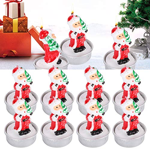bizofft Christmas Mini Candles, Decorative Candle, Santas Tealight Candles, Cute for Christmas Day Home Decoration Party Decoration Romantic Dinners