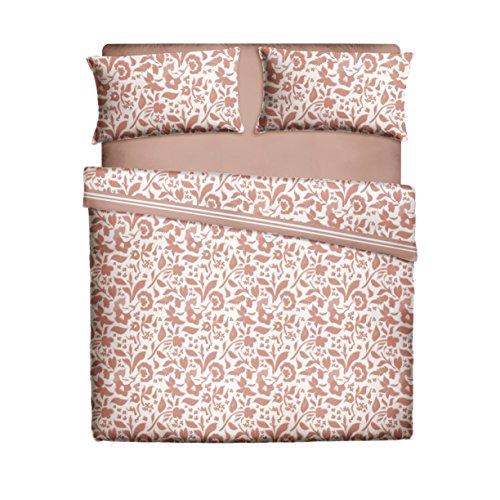 Pikolin Home, Juego de sábanas 50% algodón y 50% poliéster estampado con flores con sábana encimera, bajera y dos fundas de almohada