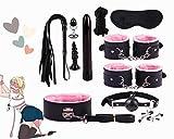 11 pezzi/set Kit sportivo in pelle rosa con comoda fodera in peluche, kit per pratica yoga per coppia in camera da letto