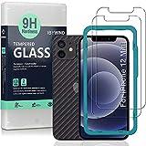 Ibywind Cristal Templado para iPhone 12 Mini(5.4'), [2 Piezas],con Protector de Lente de Cámara(Negro),Atrás Pegatina Protectora Fibra de Carbono,Incluyendo Kit de instalación fácil