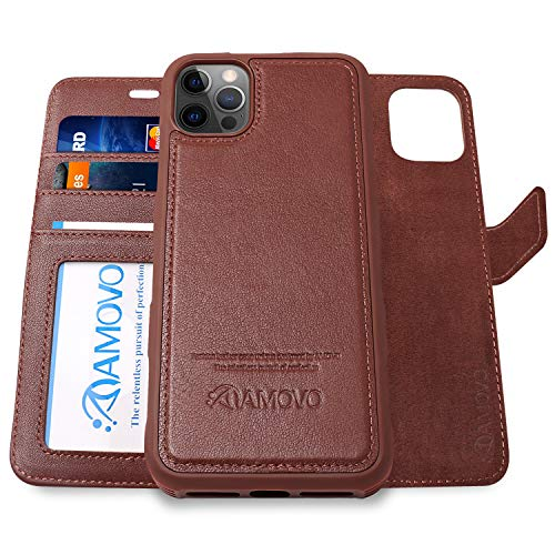 AMOVO Compatible with iPhone 12 Pro/iPhone 12 Wallet Case Magnetic Detachable [2 in 1][Wristlet][Genuine Leather] Protective Case Compatible with iPhone 12/12 Pro (6.1'') (Authentic Leather, Brown)