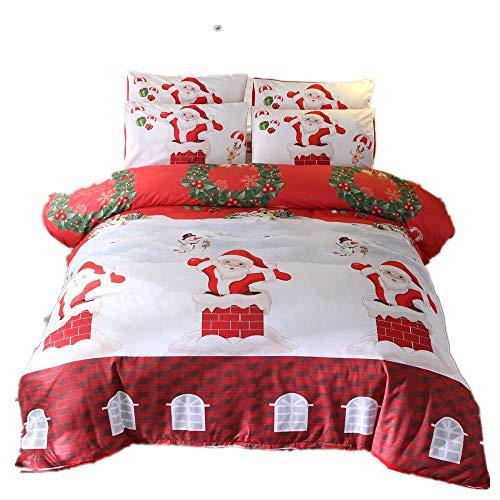 916 Winterschnee, Weihnachtsserie BettwäSuperweiche Polyester-Baumwolle,3-teilig(Kamin, der Geschenke gibt, Single Size(135x200cm+2/70x50cm Einzelbett))