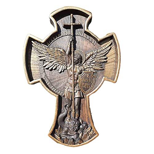 Xiaorong Aartsengel Michael Natuurlijk Hout Gesneden Religieus Icoon Christian Houten Gift voor Hem Huiswarming Cadeaus voor Mannen
