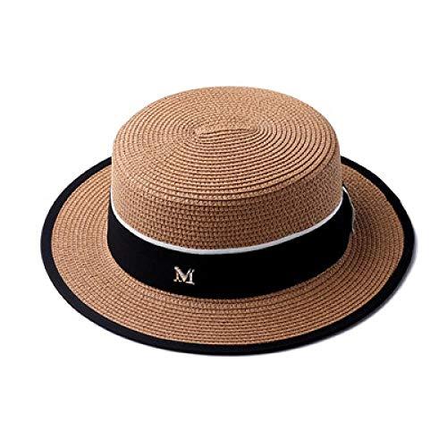 Sombrero De Playa para Cinta con Letras Sombrero De Playa De Paja con Parte Superior Plana Y Redonda Gorras para El Sol para Mujer M Sombrero De Paja De Panamá para Mujer Gorr