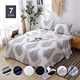 Agedate 3 Piece Brushed Microfiber Bed Sheets Set, Deep Pocket Bed Sheets Twin, Hypoallergenic, Easy to Care, Fade, Stain and Wrinkle Resistant, Twin Size, White and Black Paisley Patterned