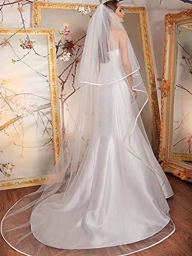 Mayelia Velo de boda de la catedral blanco velo de novia con...