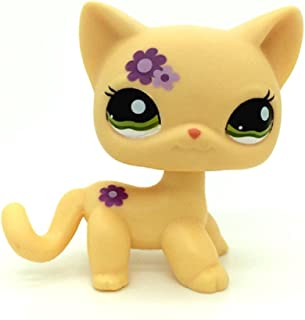 kenven Littlest Pet Shop Rare Short Hair Cat Kitty Yellow Purple Flowers LPS Toy #1962