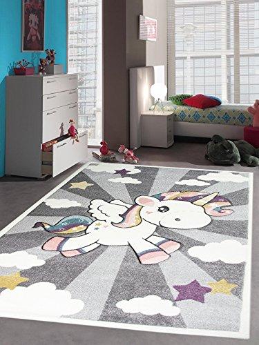 CARPETIA Kinderteppich Spielteppich Babyteppich Mädchen Einhorn Regenbogen rosa Creme grau Größe 200 x 290 cm