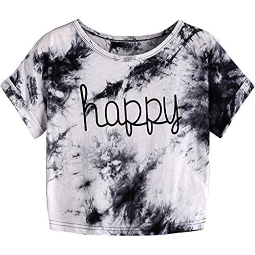 Weant Damen Sommer Bauchfrei Tshirt Mädchen Teenager Rundhals Happy T-Shirt Mode Casual Sexy Crop Tunika Farbverlauf Kurzarmshirt Oberteile Bluse Tops Pullover Shirt