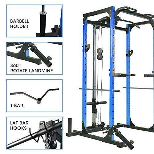 Mikolo Power Cage, 1000LBS Power Rack with LAT Pull Down and 360° Landmine for Home Gym, Weightlifting, Come with J-Hooks, Dip Bars, T-Bar, and Other Cable Attachments (2021 Version-Blue)