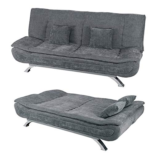 INMOZATA Linen Fabric Sofa Bed 3 Seater Recliner Couch Wooden Frame Shell Shape Chrome Legs Living Room Furniture Click Clack Mechanism