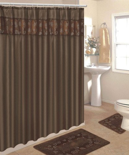 4 Piece Bathroom Rug Set/ 2 Piece Chocolate Ring Bath Rugs with Fabric Shower Curtain and Matching Mat/Rings