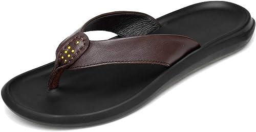 L-X Unisexe Sport Tongs Sandales Support Antidérapant en Plein Air Léger Confortable Loisirs Maison de Bain Pantoufles, marron 1, 44 UE
