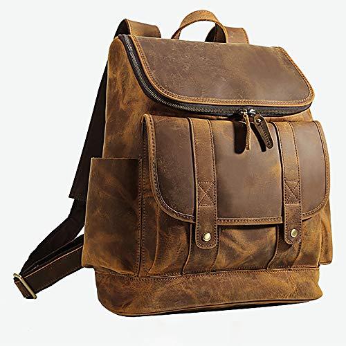 Echt leer Laptop Rugzak Voor Mannen, School Boek Rugzak Vintage Gek Paard Leer 15 Inch Laptop Rugzak Schouder Reistas